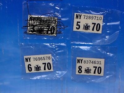 ONE 1970 New York License Plate Registration Sticker Pick Month NOS Sealed New