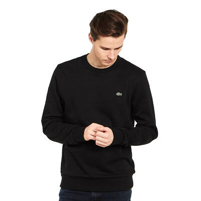 Lacoste - Embroidered Brushed Fleece Sweatshirt Black Pullover Rundhals