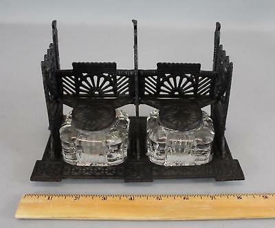 Antique Victorian Aesthetic Painted Cast Iron & Glass Double Inkwell, No Reserve