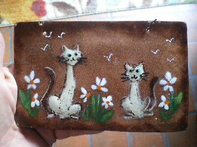 "Vintage Enamelware  Art Small Plaque Siamese Cats Signed 5"" X 3"""