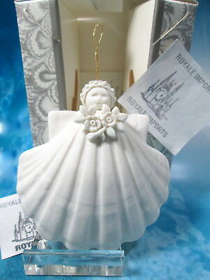 Margaret Furlong Wild Rose Angel Sea Shell Ornament 3 Inch White New Box Stand