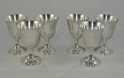 """Wallace Sterling Silver Set Of 6 Goblets (4 1/4"""")"""