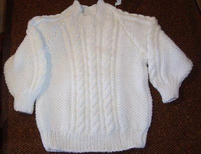 Soft 100% Acrylic Cable Jumper  New Hand Knitted Size 2 Light Cream Colour