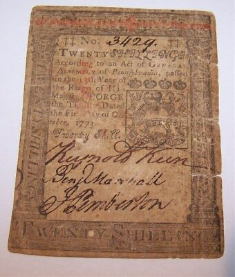 October 1,1773 20 Twenty Shillings Pennsylvania Colonial Currency PA #3429