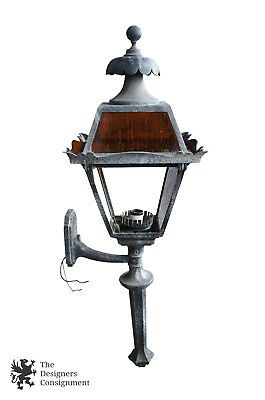 Vintage Electric Iron Carriage Lantern Wall Light Sconce Outdoor Driveway Gothic