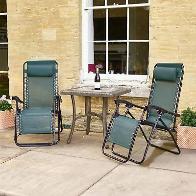 Set of 2 - Vinsani Textoline Gravity Garden Sun Lounger Reclining Chair - Green