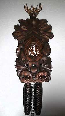 vintage cuckoo clock anton schneider black forest wall clock  germany 8 day