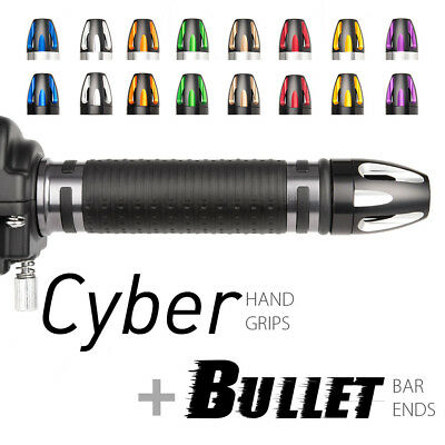 motorcycle grip + bar end bundle Cyber iron gray + carved Bullet style bar ends