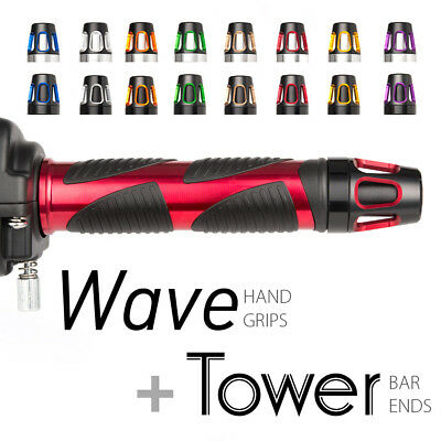 motorcycle grip + bar end bundle Wave red + carved Tower style bar ends