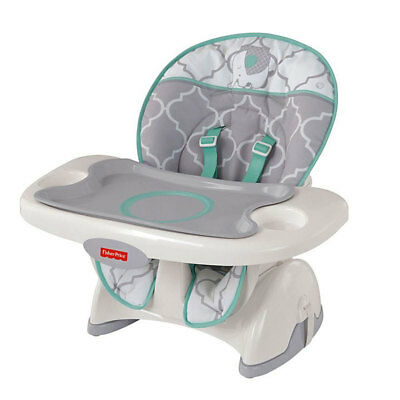 Fisher Price Deluxe SpaceSaver Safari Dreams Adjustable High Chair, Mint Grey