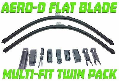"Pair Aero-D Flat Front Windscreen Wiper Blades Set 21"" For Skoda ROOMSTER 10.07-"