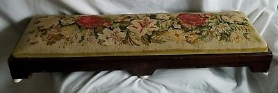 Antique Victorian Wood Foot Bench Alter Kneeler-Floral Needlepoint Cushion Top