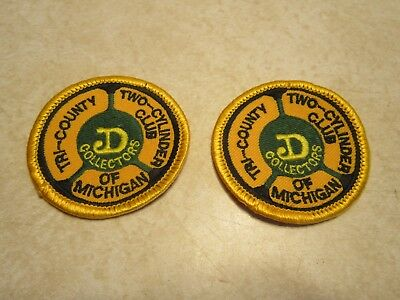 (2) Tri County Two Cylinder Club of Michigan D Collector Patches John Deere D406