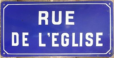 Old blue French enamel street sign road plaque plate name Church Road Loire VGC