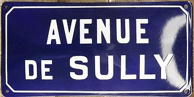 Old blue French enamel steel street sign road plaque name Sully Suliman Sullivan