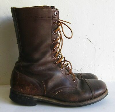 Vtg 50s Brown Leather Lace Up Military Jump Boots International Shoe Co. 8W