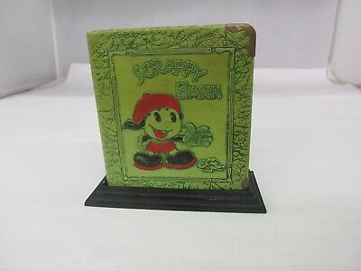 Antique Vintage Scrappy Bank leather cartoon character book shape    774-