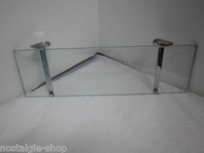 70er Wall Console Shelf Glass with Metal Holder Lounge 70s