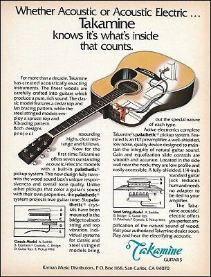The Takamine Palathetic Pickup System Acoustic/Electric Guitar X-Ray 8 x 11 ad