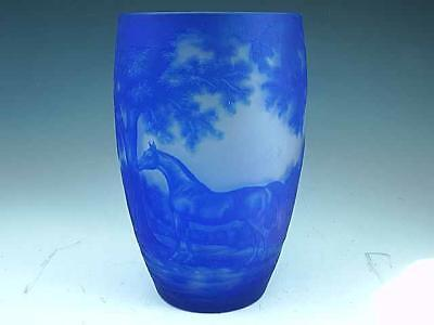 Large Antique 1930's French Blue Cameo Art Glass Vase W Race Horse Signed