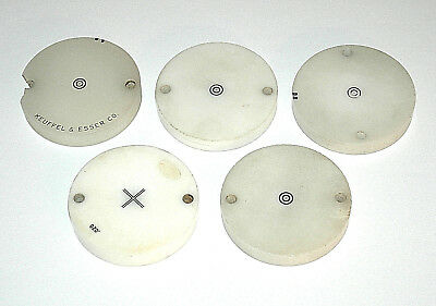 "Lot of 5 K&E plastic optical alignment targets, 2-1/4"" inclg 71-6160 +cross type"