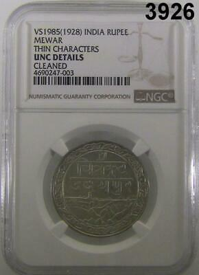 1928 India Rupee Mewar Thin Characters Ngc Certified Unc Details Cleaned #3926