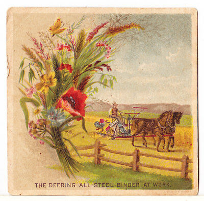 Older Deering Farm Equipment Advertisng Card: Piqua Ohio