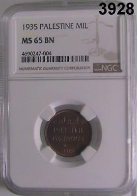 1935 Palestine Mil Coin Ngc Certified Ms65 Bn #3928