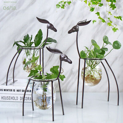 Fashion Deer Shape Hydroponic Container Glass DIY Pot Vase Plant Home Decor