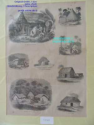 13160-Sri Lanka-Ceylon-New Zealand-etc.-Hütte-Huts-T Holzstich-Wood engraving