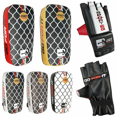 Sporteq Boxing Strike Shield Curved Kick Punching Pad Leg Arm MMA Gloves Set