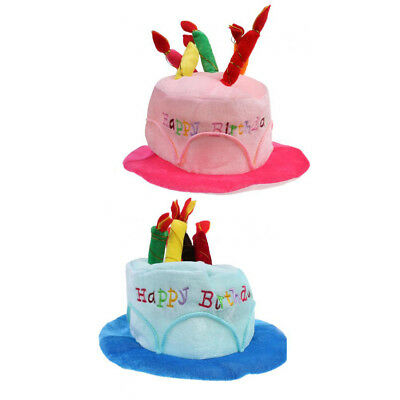 2pcs Adults Kids Happy Birthday Hat Cake With Mock Candles Blue Pink Cap