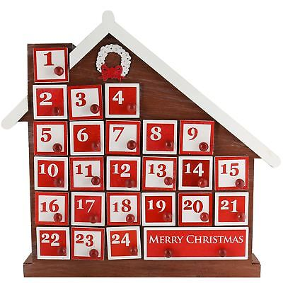 Christmas Workshop Advent Calendar 8 LED Wooden Empty Cupboard Design 25 Days