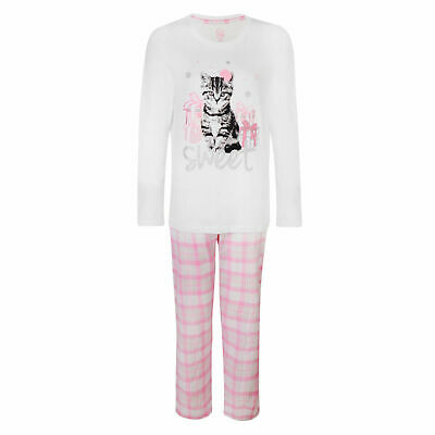 GIRLS PYJAMAS SWEET CAT EX STORE C&A WHITE PINK LONG PJ SET 1-15y NEW