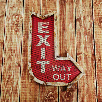 Large LED Exit Arrow Sign Light Up Wall Hanging Plaque American Diner Retro New