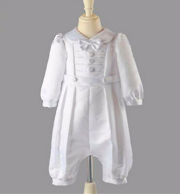 Boy baby Girl Kid white Long sleeves christening shower Bowtie outfits suits