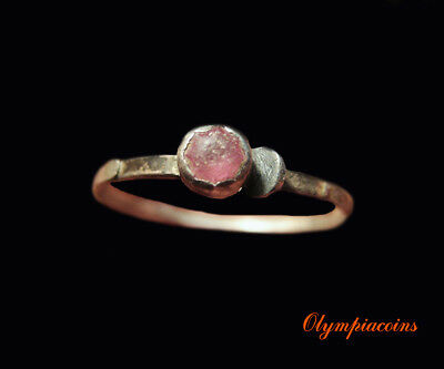 Ancient Medieval  SILVER ring  ** PINK ** stone