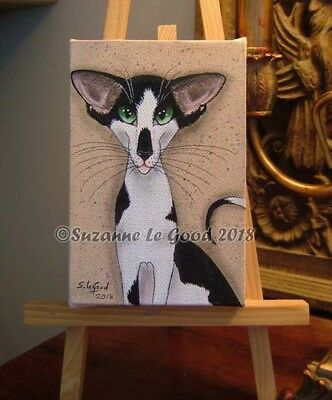 Oriental Cat art painting original hand painted deep canvas by Suzanne Le Good