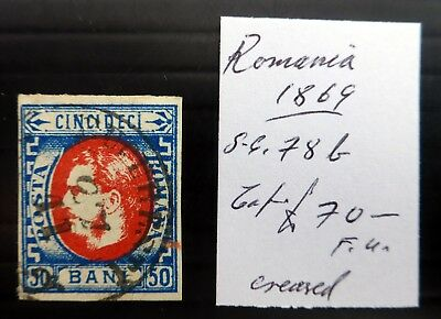 ROMANIA 1869 SG78b Cat £70 with Small Crease NF586