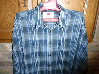 Levi's Blue Grey Black Check Shirt Medium Vintage Clothing Rockabilly