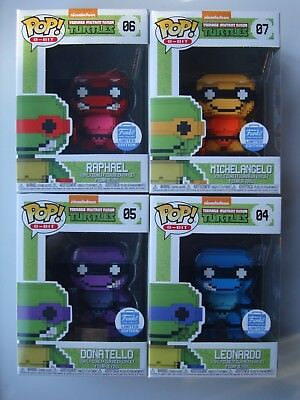 Funko Pop! Shop Exclusive 8-Bit TMNT Neon Set (4) Vinyl Leo Raph Mikey Don L@@K!