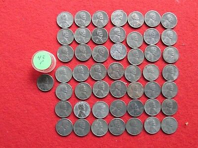 1943-P STEEL LINCOLN WHEAT CENT Roll 50 coins Circ 1943 P