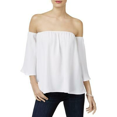 INC Womens Chiffon Off The Shoulder Casual Blouse Top BHFO 7713