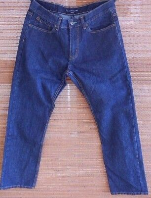 4c315229e29 Men s TOMMY HILFIGER Jeans 34 32 Slim Fit DENIM Dark Indigo Blue 5 Pocket