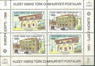 Cyprus Turkish EUROPE cept 1990 Used Sheet Block Cyprus