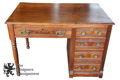 Victorian Eastlake 19th Century Walnut Burl Desk Knee Hole IFW Co 1884 Antique