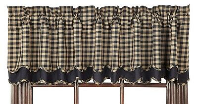 "Country Primitive Black Check Scalloped Layered Valance 72"" Farmhouse Curtain"