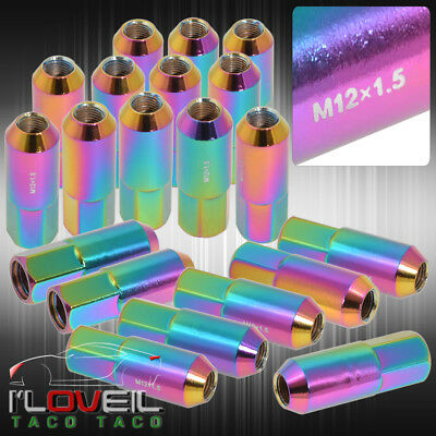 For Ford Dodge 60Mm 20 Pcs M12 X 1.50 Neo Chrome Extended Open End Lug Nuts Rim