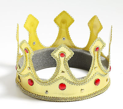 Royal Queen Crown Gold with Red Gems Adult Size Prom Renaissance