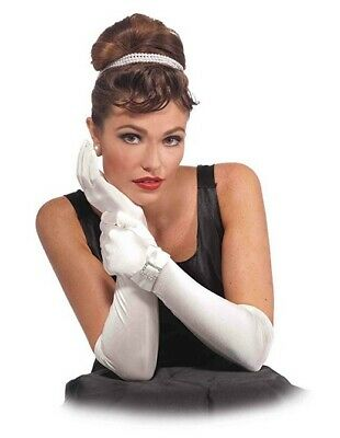 Long White Satin Gloves with Bow and Buckle Opera Length Gloves Adult Size